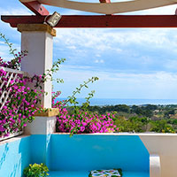 The view on the sea from the terrace with the bouganville